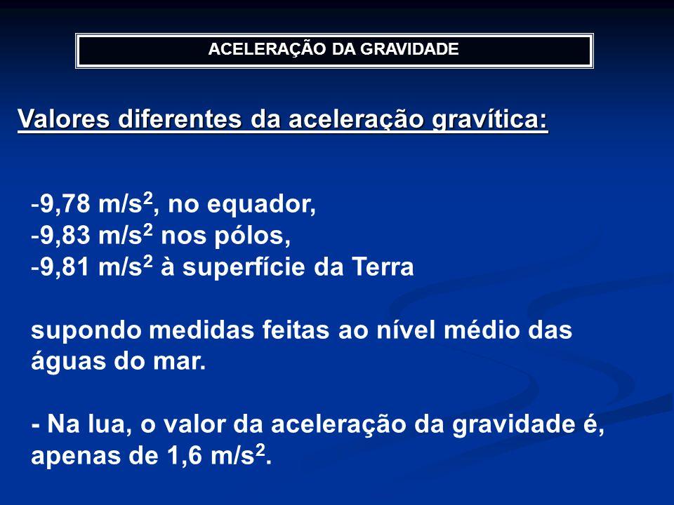 ACELERAÇÃO DA GRAVIDADE Valores diferentes da aceleração gravítica: -9,78 m/s 2, no equador, -9,83 m/s 2 nos pólos, -9,81 m/s 2 à superfície da Terra