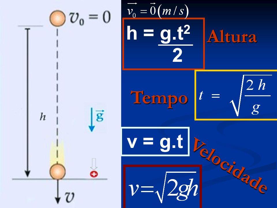h = g.t 2 2 v = g.t Altura Tempo Velocidade
