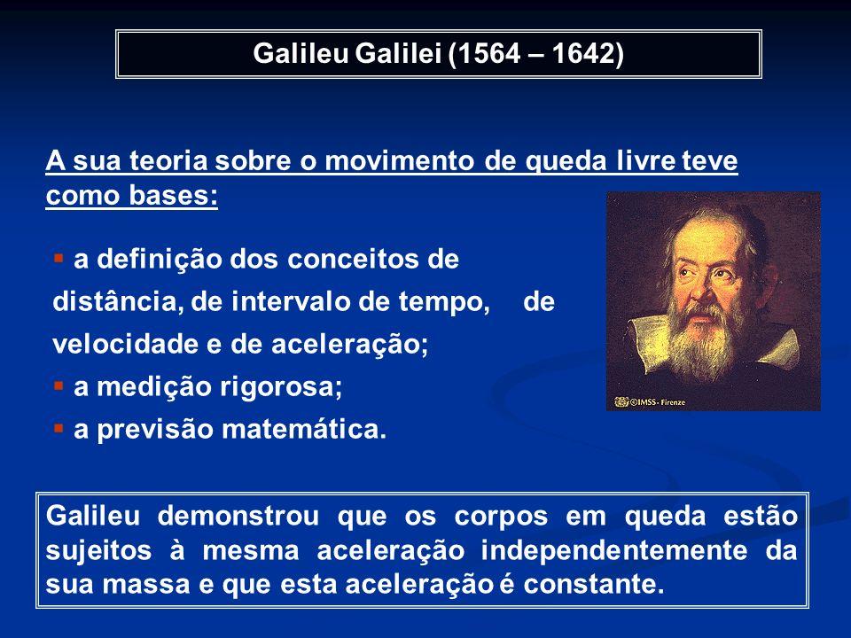 Galileu Galilei (1564 – 1642) A sua teoria sobre o movimento de queda livre teve como bases: a definição dos conceitos de distância, de intervalo de t
