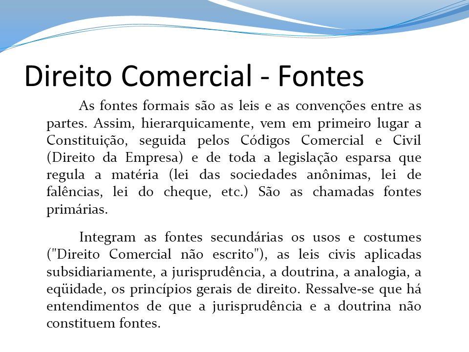 Direito Comercial - Fontes As fontes formais são as leis e as convenções entre as partes. Assim, hierarquicamente, vem em primeiro lugar a Constituiçã