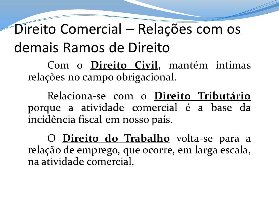 Direito Comercial – Relações com os demais Ramos de Direito Com o Direito Civil, mantém íntimas relações no campo obrigacional. Relaciona-se com o Dir