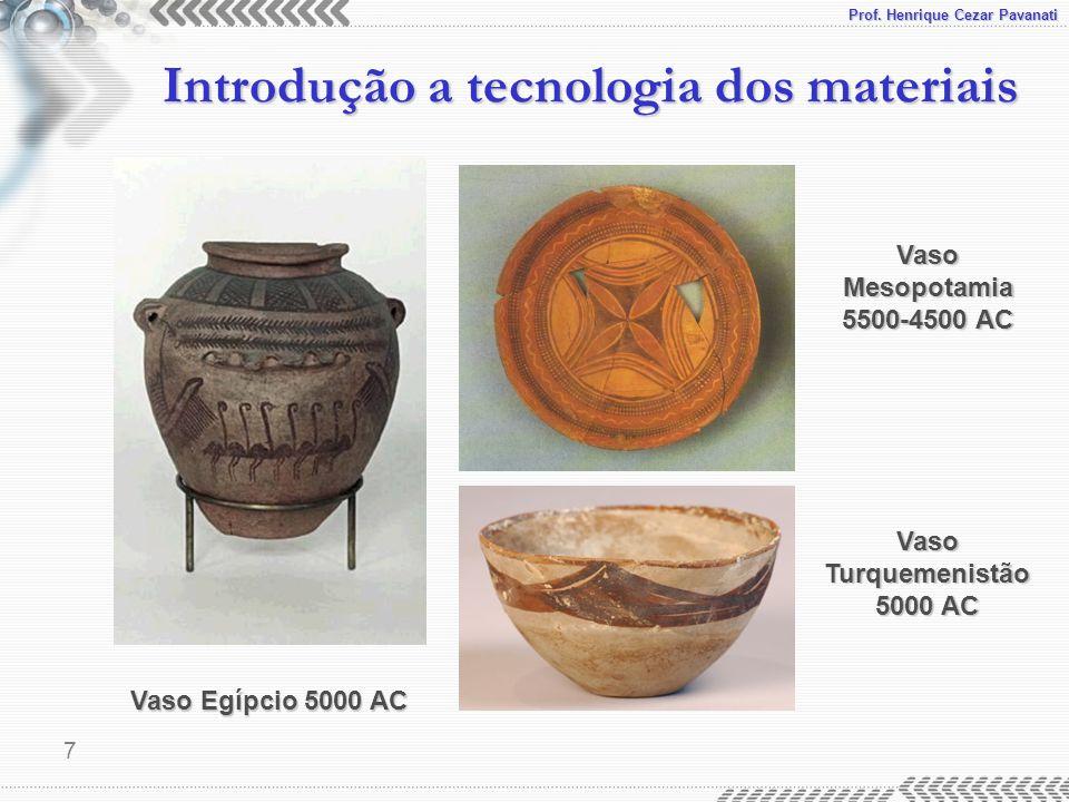 Prof. Henrique Cezar Pavanati 8 Introdução a tecnologia dos materiais