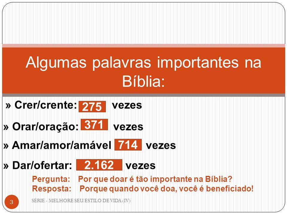SÉRIE - MELHORE SEU ESTILO DE VIDA (IV) 3 Algumas palavras importantes na Bíblia: » Orar/oração: vezes » Crer/crente: vezes » Amar/amor/amável vezes »