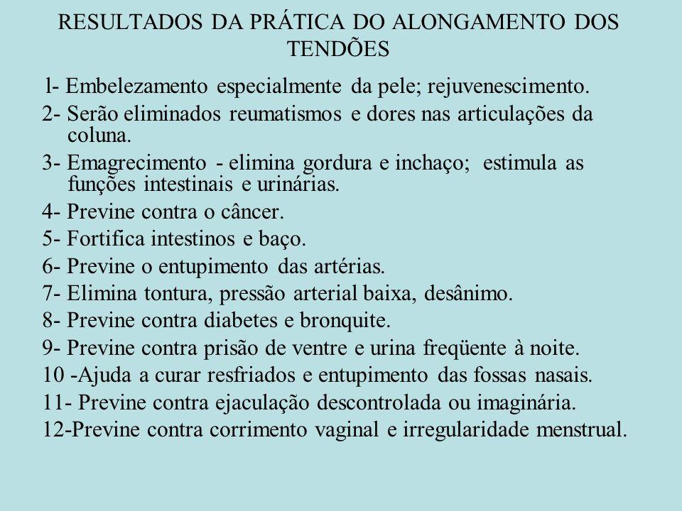 RESULTADOS DA PRÁTICA DO ALONGAMENTO DOS TENDÕES l- Embelezamento especialmente da pele; rejuvenescimento. 2- Serão eliminados reumatismos e dores nas