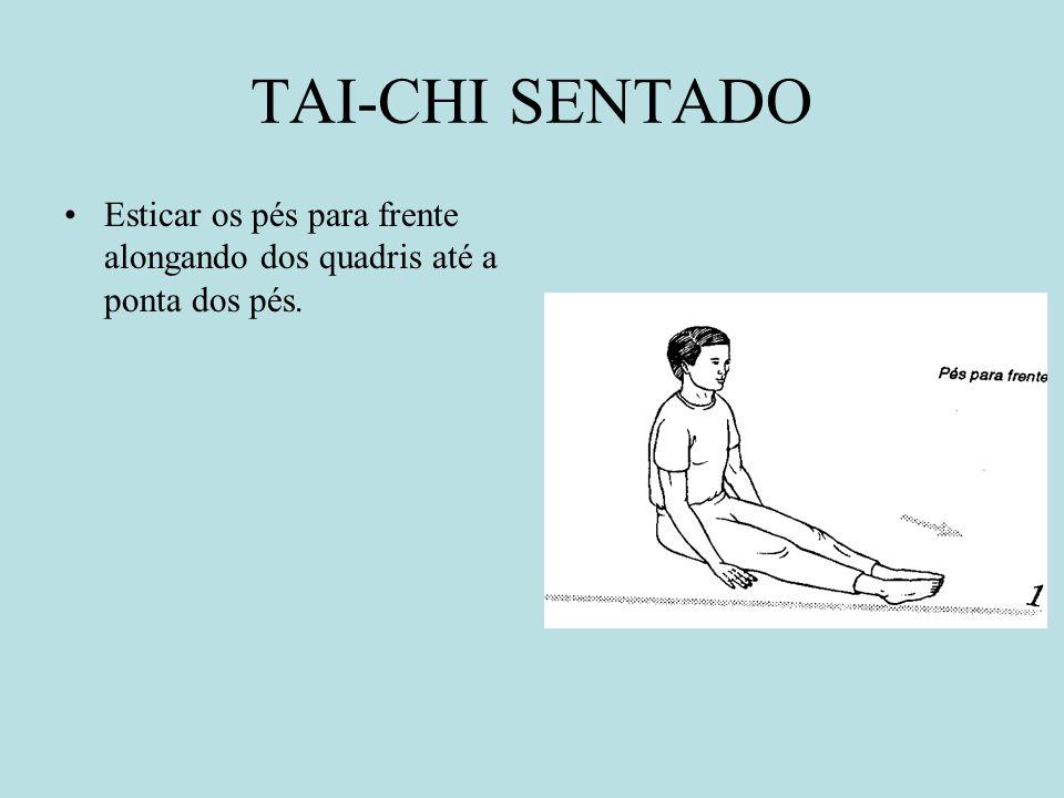TAI-CHI SENTADO Esticar os pés para frente alongando dos quadris até a ponta dos pés.