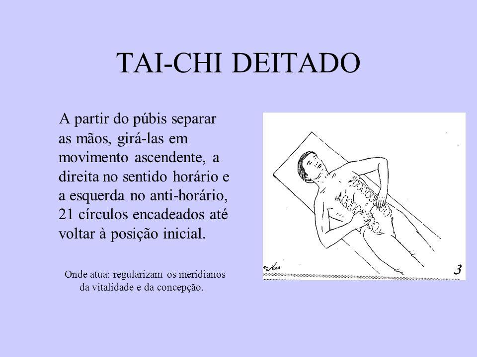 TAI-CHI DEITADO A partir do púbis separar as mãos, girá-las em movimento ascendente, a direita no sentido horário e a esquerda no anti-horário, 21 cír