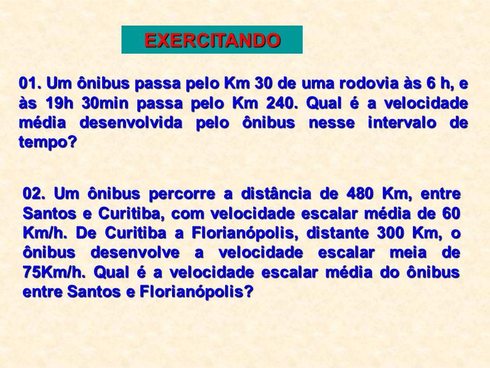 60 Km/h significa que: 60 Km foi percorrido em 1 hora. Unidades de Mediada Km/h = quilômetro por hora m/s = metro por segundo Km/h m/s x 3,6 : 3,6