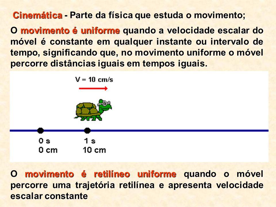 O movimento é uniforme quando a velocidade escalar do móvel é constante em qualquer instante ou intervalo de tempo, significando que, no movimento uniforme o móvel percorre distâncias iguais em tempos iguais.