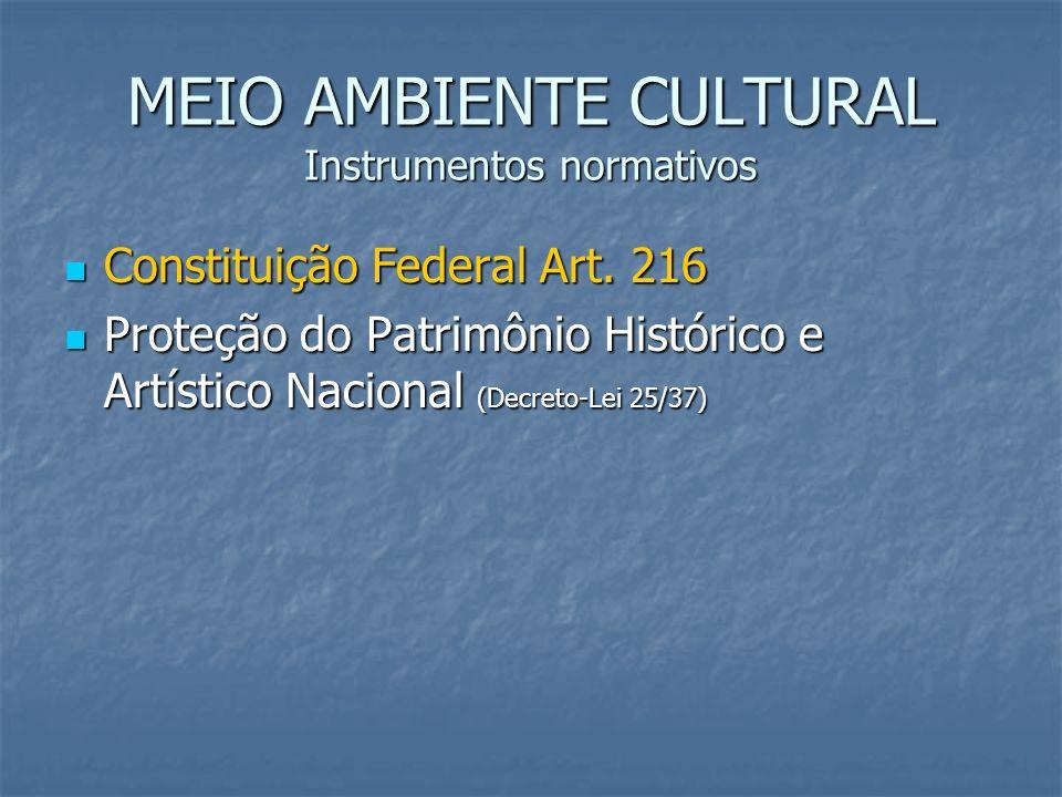 MEIO AMBIENTE CULTURAL Instrumentos normativos Constituição Federal Art. 216 Constituição Federal Art. 216 Proteção do Patrimônio Histórico e Artístic