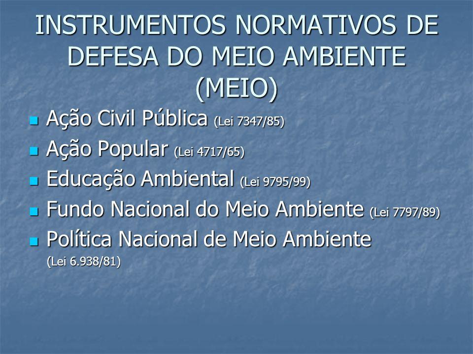 INSTRUMENTOS NORMATIVOS DE DEFESA DO MEIO AMBIENTE (MEIO) Ação Civil Pública (Lei 7347/85) Ação Civil Pública (Lei 7347/85) Ação Popular (Lei 4717/65)