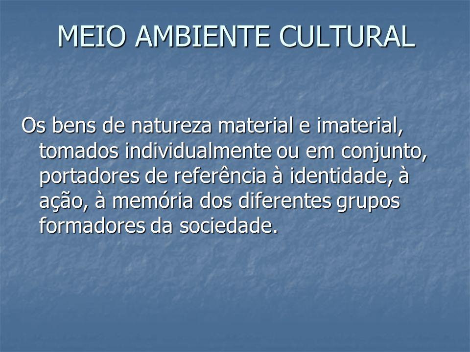 MEIO AMBIENTE CULTURAL Os bens de natureza material e imaterial, tomados individualmente ou em conjunto, portadores de referência à identidade, à ação