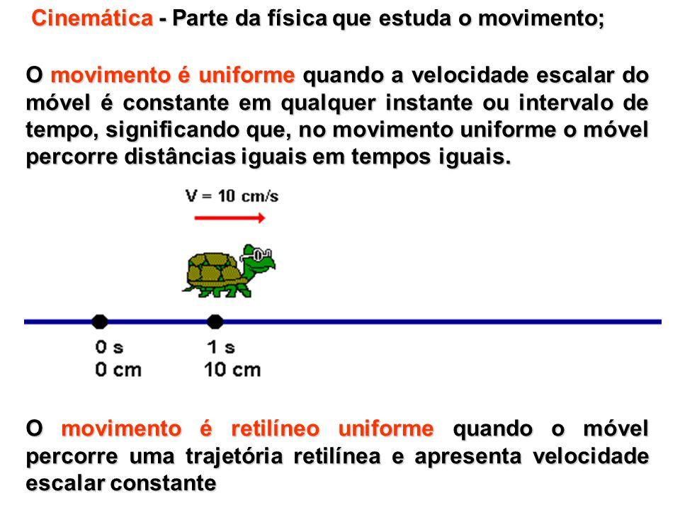 Movimento retilíneo uniforme: progressivo e retrógrado: Movimento progressivo, o móvel caminha a favor da orientação da trajetória, seus espaços crescem no decurso do tempo e sua velocidade escalar é positiva.
