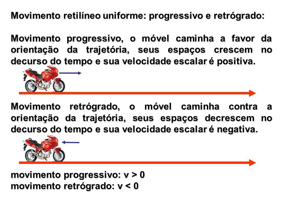 Movimento retilíneo uniforme: progressivo e retrógrado: Movimento progressivo, o móvel caminha a favor da orientação da trajetória, seus espaços cresc