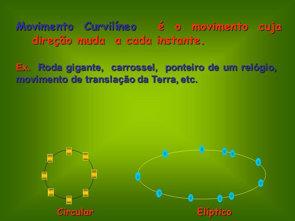 Movimento Curvilíneo é o movimento cuja direção muda a cada instante. Ex. Roda gigante, carrossel, ponteiro de um relógio, movimento de translação da