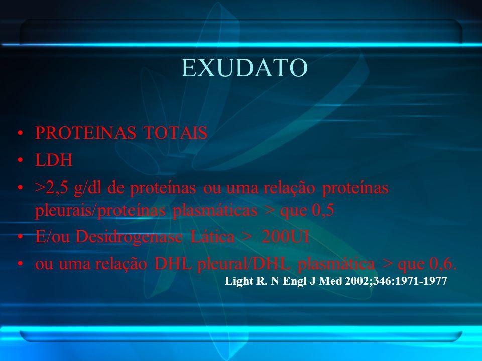 EXUDATO PROTEINAS TOTAIS LDH >2,5 g/dl de proteínas ou uma relação proteínas pleurais/proteínas plasmáticas > que 0,5 E/ou Desidrogenase Lática > 200U