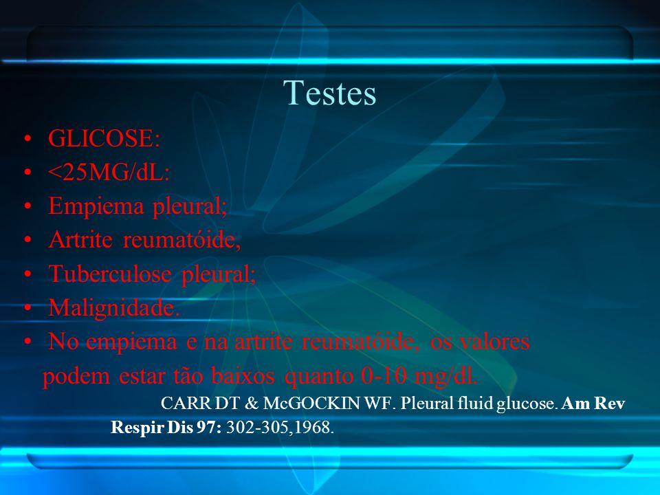 Testes GLICOSE: <25MG/dL: Empiema pleural; Artrite reumatóide, Tuberculose pleural; Malignidade. No empiema e na artrite reumatóide, os valores podem