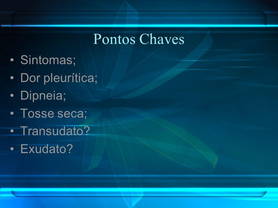 Pontos Chaves Sintomas; Dor pleurítica; Dipneia; Tosse seca; Transudato? Exudato?