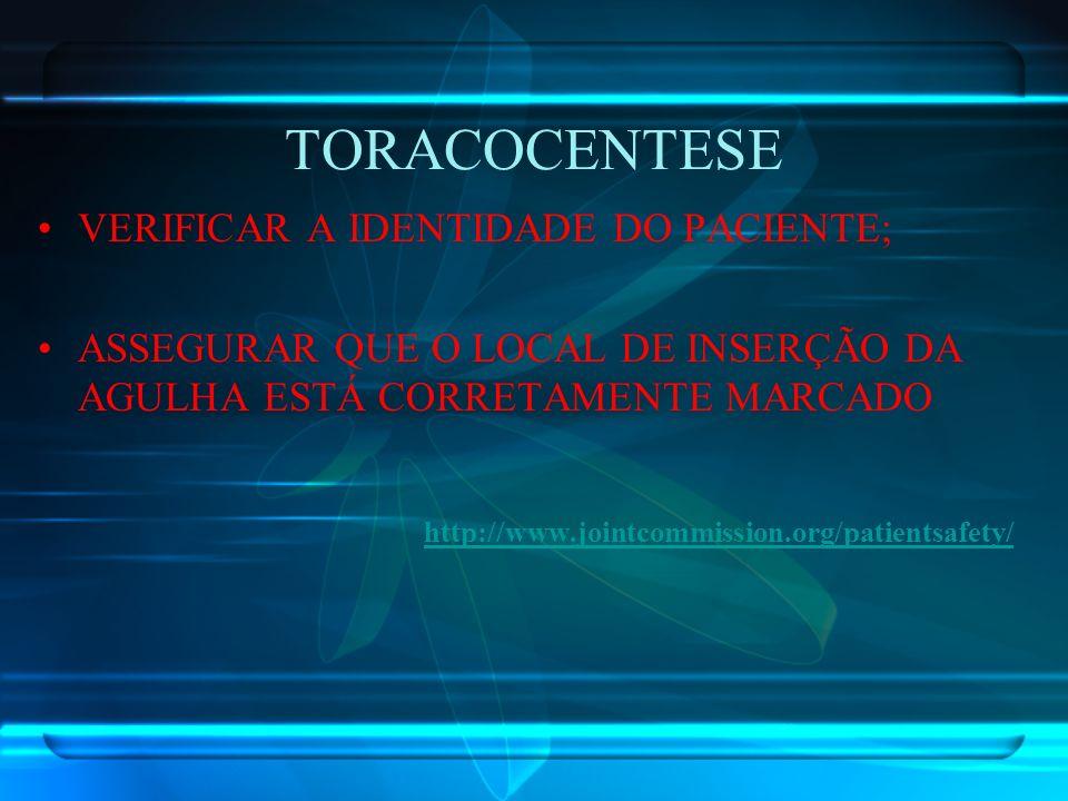 TORACOCENTESE VERIFICAR A IDENTIDADE DO PACIENTE; ASSEGURAR QUE O LOCAL DE INSERÇÃO DA AGULHA ESTÁ CORRETAMENTE MARCADO http://www.jointcommission.org