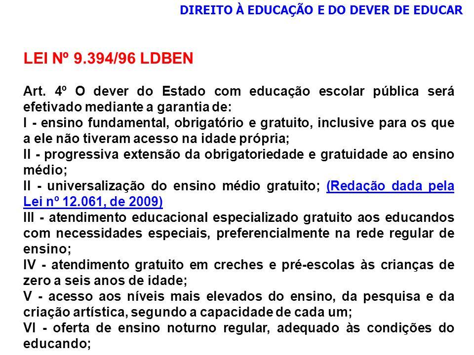 LEI Nº 9.394/96 LDBEN Art. 4º O dever do Estado com educação escolar pública será efetivado mediante a garantia de: I - ensino fundamental, obrigatóri