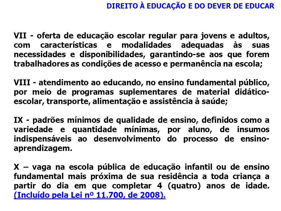 DIREITO À EDUCAÇÃO E DO DEVER DE EDUCAR VII - oferta de educação escolar regular para jovens e adultos, com características e modalidades adequadas às