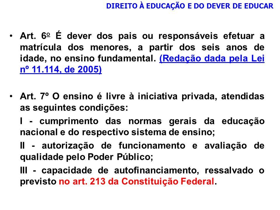Art. 6 o É dever dos pais ou responsáveis efetuar a matrícula dos menores, a partir dos seis anos de idade, no ensino fundamental. (Redação dada pela
