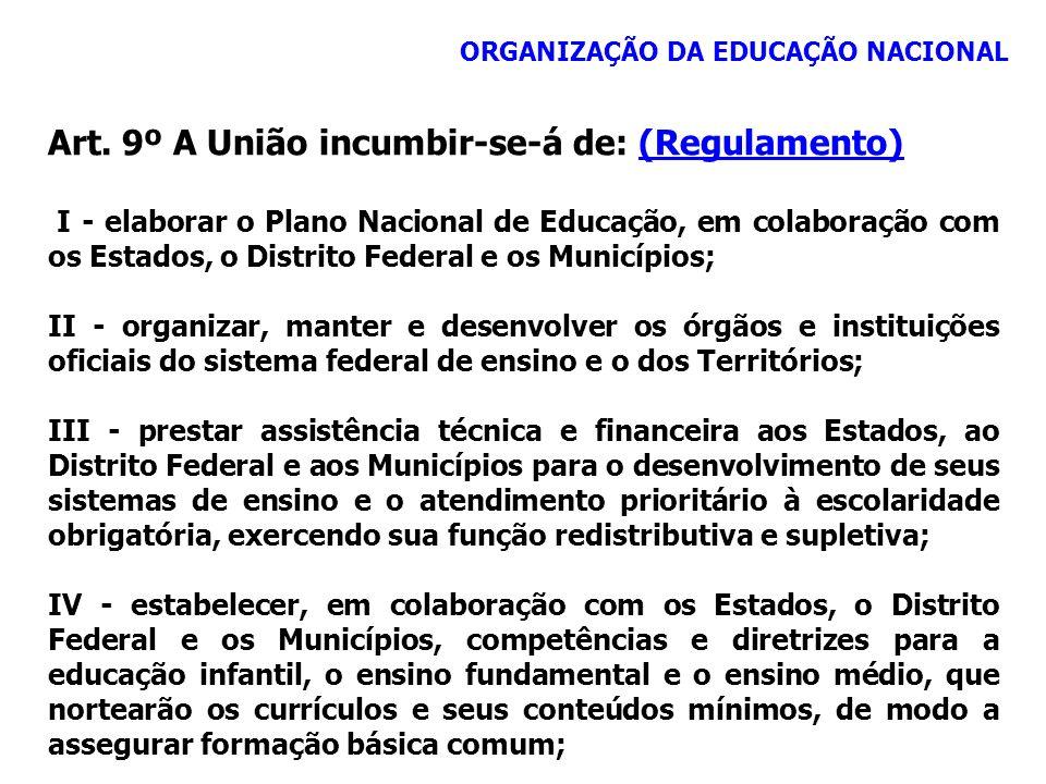 ORGANIZAÇÃO DA EDUCAÇÃO NACIONAL Art. 9º A União incumbir-se-á de: (Regulamento)(Regulamento) I - elaborar o Plano Nacional de Educação, em colaboraçã
