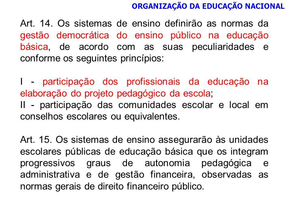 ORGANIZAÇÃO DA EDUCAÇÃO NACIONAL Art. 14. Os sistemas de ensino definirão as normas da gestão democrática do ensino público na educação básica, de aco