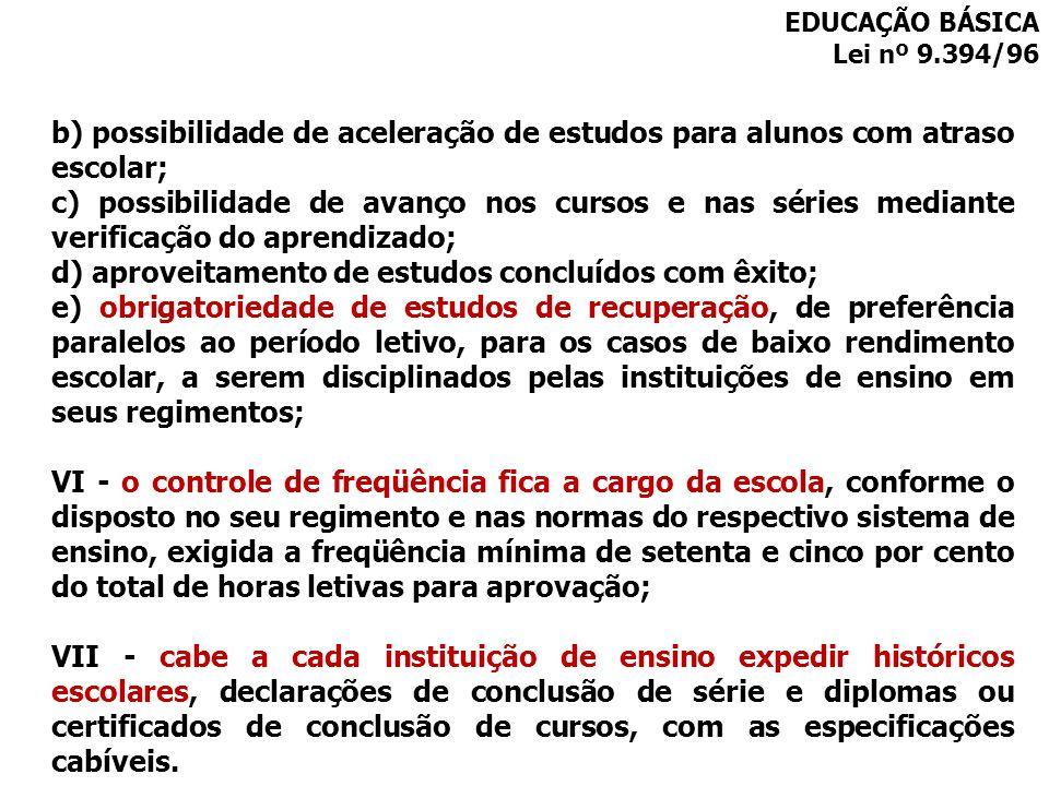 b) possibilidade de aceleração de estudos para alunos com atraso escolar; c) possibilidade de avanço nos cursos e nas séries mediante verificação do a