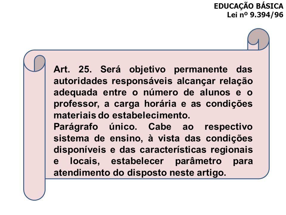 EDUCAÇÃO BÁSICA Lei nº 9.394/96 Art. 25. Será objetivo permanente das autoridades responsáveis alcançar relação adequada entre o número de alunos e o
