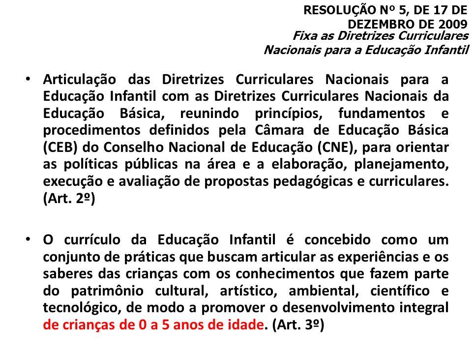 Articulação das Diretrizes Curriculares Nacionais para a Educação Infantil com as Diretrizes Curriculares Nacionais da Educação Básica, reunindo princ