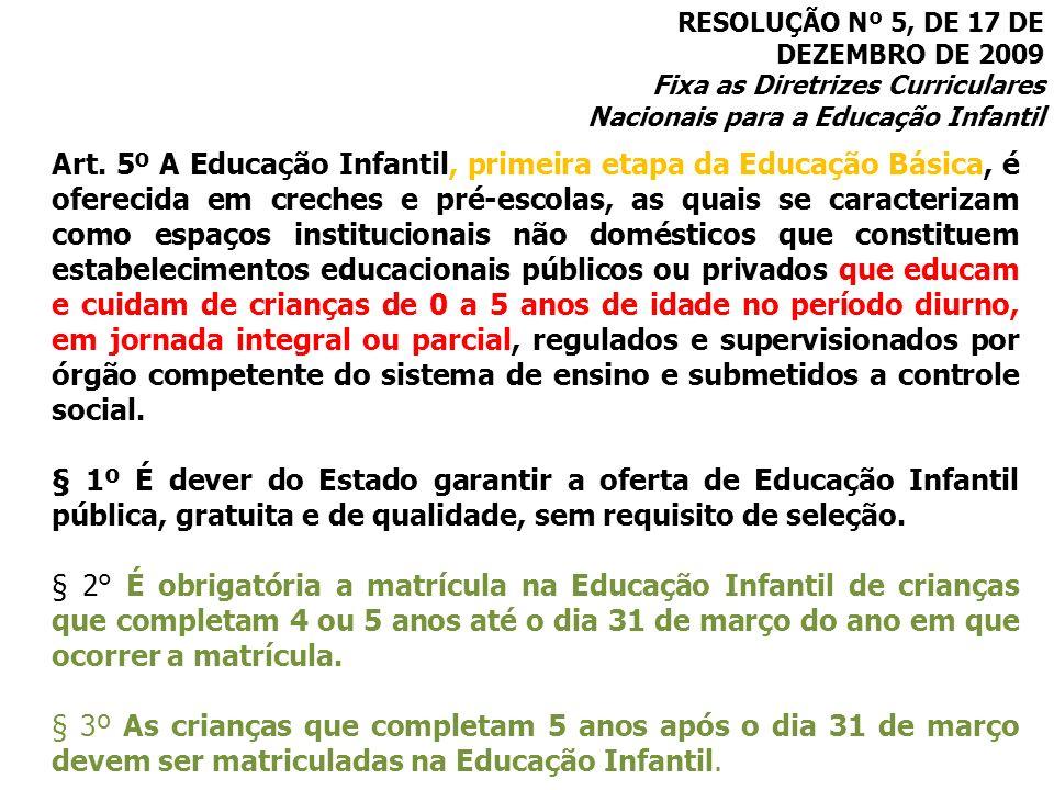 RESOLUÇÃO Nº 5, DE 17 DE DEZEMBRO DE 2009 Fixa as Diretrizes Curriculares Nacionais para a Educação Infantil Art. 5º A Educação Infantil, primeira eta