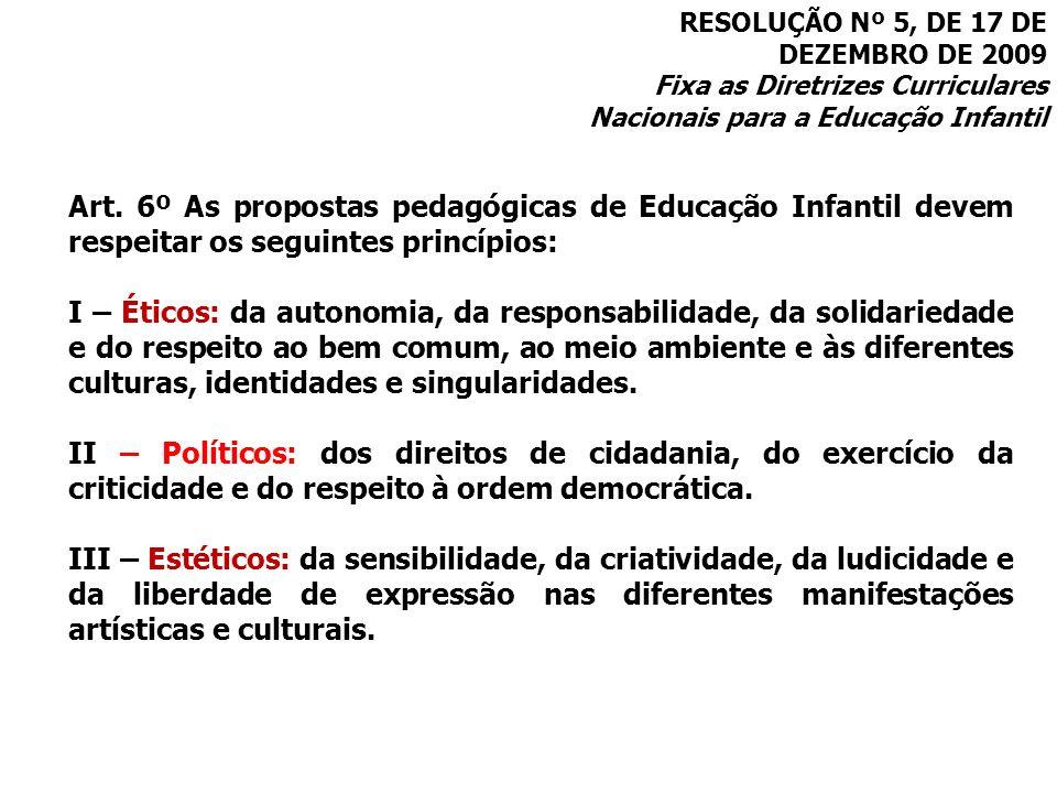 RESOLUÇÃO Nº 5, DE 17 DE DEZEMBRO DE 2009 Fixa as Diretrizes Curriculares Nacionais para a Educação Infantil Art. 6º As propostas pedagógicas de Educa