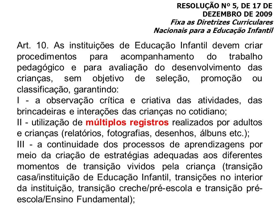 RESOLUÇÃO Nº 5, DE 17 DE DEZEMBRO DE 2009 Fixa as Diretrizes Curriculares Nacionais para a Educação Infantil Art. 10. As instituições de Educação Infa
