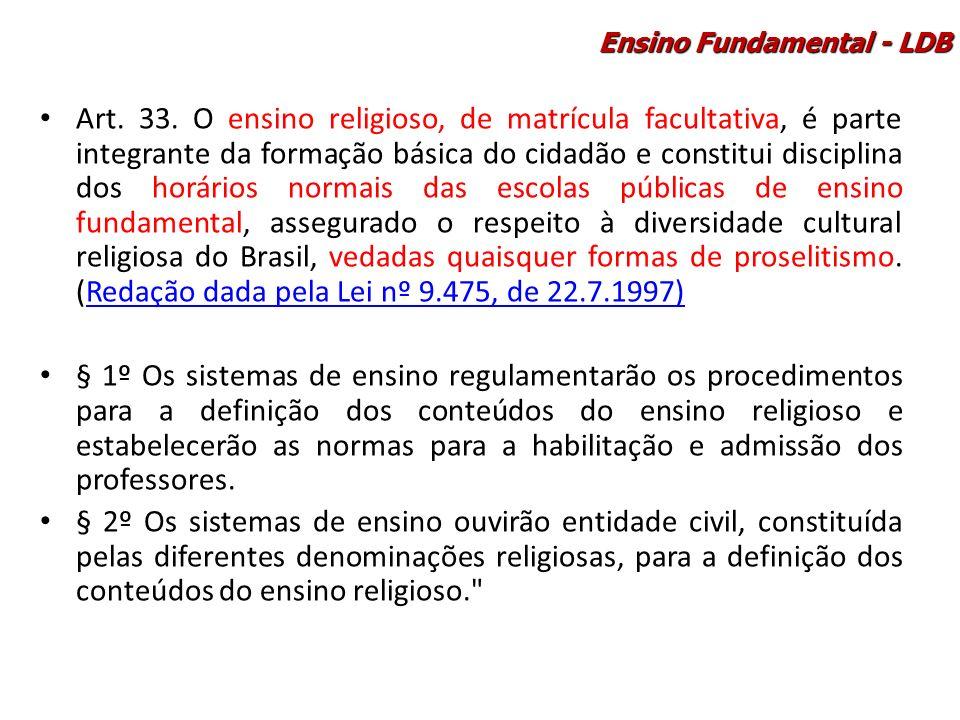 Art. 33. O ensino religioso, de matrícula facultativa, é parte integrante da formação básica do cidadão e constitui disciplina dos horários normais da