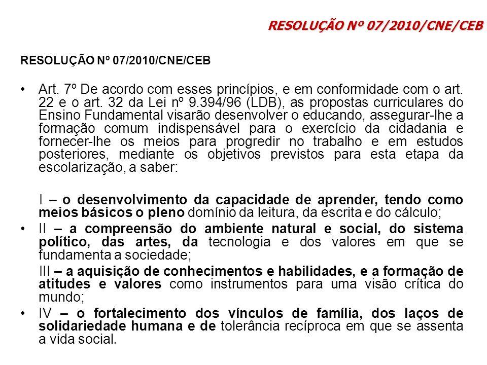 RESOLUÇÃO Nº 07/2010/CNE/CEB Art. 7º De acordo com esses princípios, e em conformidade com o art. 22 e o art. 32 da Lei nº 9.394/96 (LDB), as proposta
