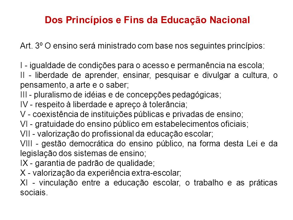 Dos Princípios e Fins da Educação Nacional Art. 3º O ensino será ministrado com base nos seguintes princípios: I - igualdade de condições para o acess
