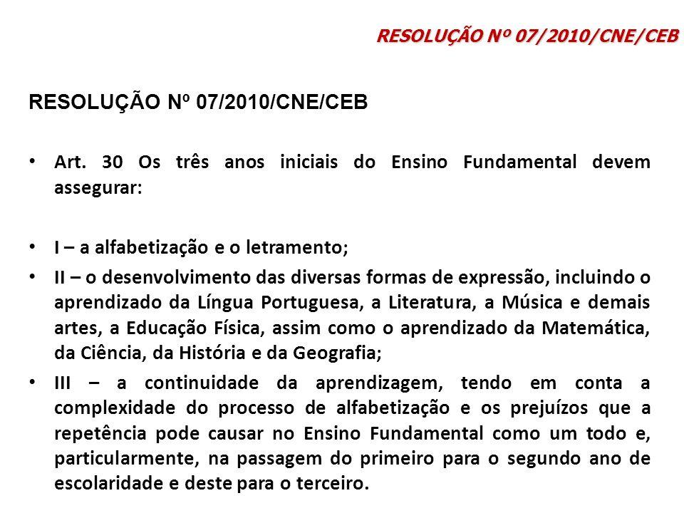 Art. 30 Os três anos iniciais do Ensino Fundamental devem assegurar: I – a alfabetização e o letramento; II – o desenvolvimento das diversas formas de