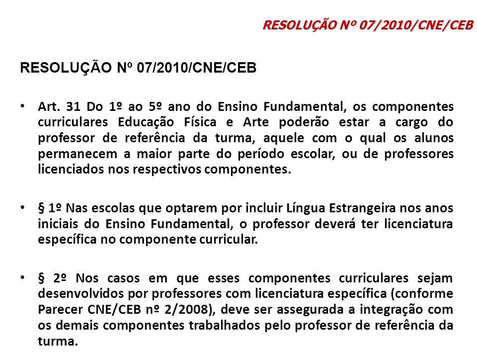 Art. 31 Do 1º ao 5º ano do Ensino Fundamental, os componentes curriculares Educação Física e Arte poderão estar a cargo do professor de referência da