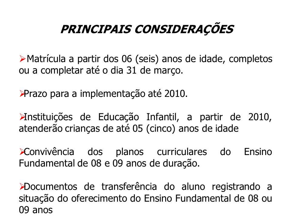 Matrícula a partir dos 06 (seis) anos de idade, completos ou a completar até o dia 31 de março. Prazo para a implementação até 2010. Instituições de E
