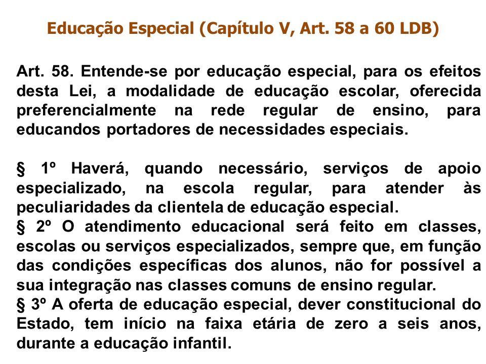 Educação Especial (Capítulo V, Art. 58 a 60 LDB) Art. 58. Entende-se por educação especial, para os efeitos desta Lei, a modalidade de educação escola