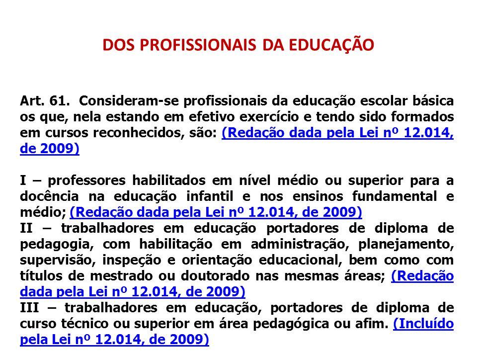 DOS PROFISSIONAIS DA EDUCAÇÃO Art. 61. Consideram-se profissionais da educação escolar básica os que, nela estando em efetivo exercício e tendo sido f