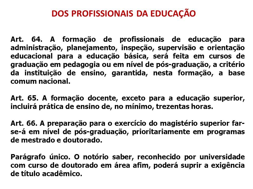 DOS PROFISSIONAIS DA EDUCAÇÃO Art. 64. A formação de profissionais de educação para administração, planejamento, inspeção, supervisão e orientação edu