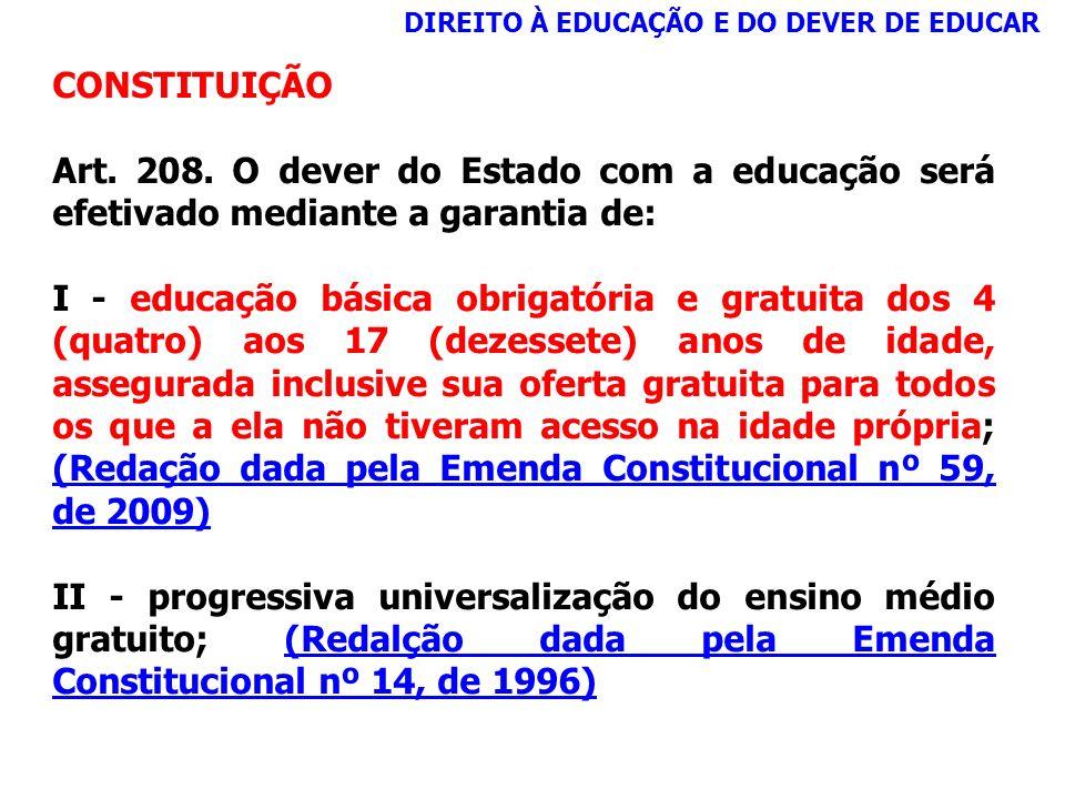CONSTITUIÇÃO Art. 208. O dever do Estado com a educação será efetivado mediante a garantia de: I - educação básica obrigatória e gratuita dos 4 (quatr