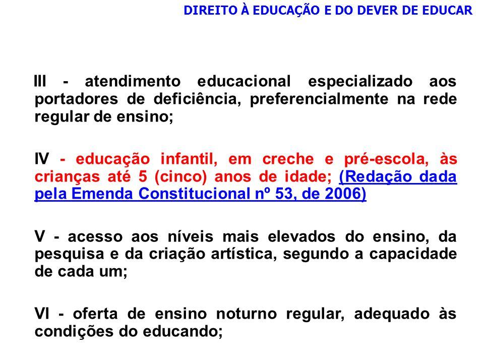 III - atendimento educacional especializado aos portadores de deficiência, preferencialmente na rede regular de ensino; IV - educação infantil, em cre