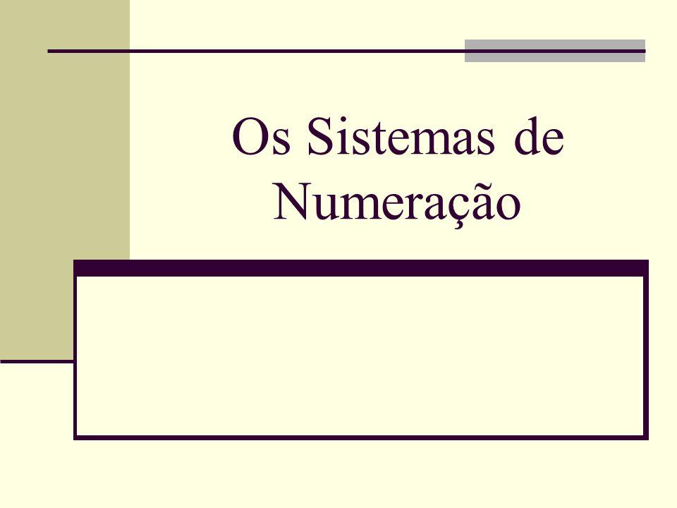 Sistemas de Numeração1 Métodos para representar quantidades Romano ( I, V, X, L, C, D, M ) Indo-arábico (1, 2, 3, 4, 5, 6, 7, 8, 9, 0) Número Numeral Algarismo Sistemas de numeração posicionais A posição de cada algarismo determina o seu valor Bases de um sistema de numeração Quantidade de algarismos disponíveis Há diversas bases (de acordo com a necessidade)