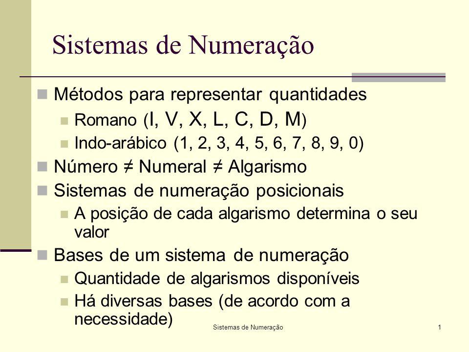 Sistemas de Numeração2 Bases mais usadas em Informática Base 10 – Sistema Decimal: 0, 1, 2, 3, 4, 5, 6, 7, 8, 9 Base 2 – Sistema Binário: 0, 1 Base 8 – Sistema Octal 0, 1, 2, 3, 4, 5, 6, 7 Base 16 – Sistema Hexadecimal 0, 1, 2, 3, 4, 5, 6, 7, 8, 9, A, B, C, D, E, F