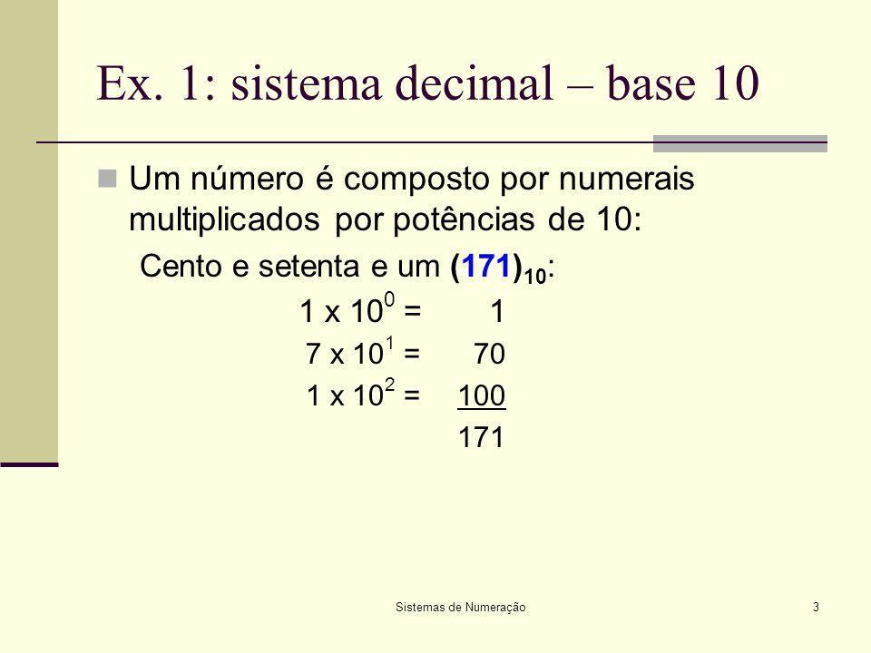 Sistemas de Numeração3 Ex. 1: sistema decimal – base 10 Um número é composto por numerais multiplicados por potências de 10: Cento e setenta e um (171