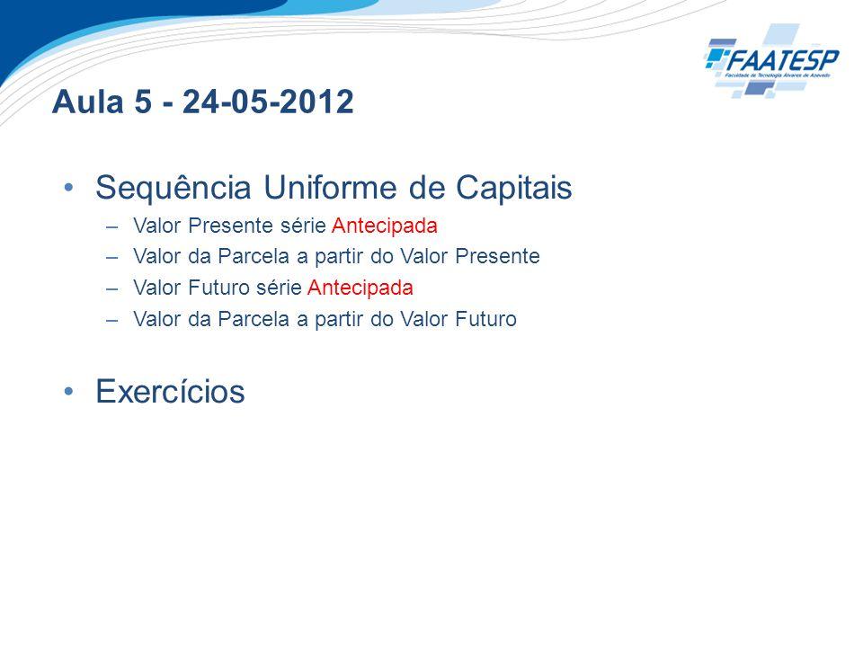 Aula 5 - 24-05-2012 Sequência Uniforme de Capitais –Valor Presente série Antecipada –Valor da Parcela a partir do Valor Presente –Valor Futuro série A