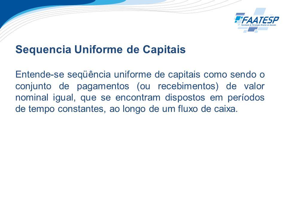 Sequencia Uniforme de Capitais Entende-se seqüência uniforme de capitais como sendo o conjunto de pagamentos (ou recebimentos) de valor nominal igual,