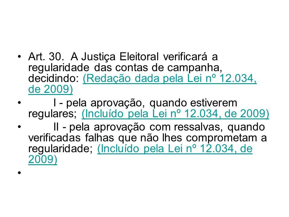 Art. 30. A Justiça Eleitoral verificará a regularidade das contas de campanha, decidindo: (Redação dada pela Lei nº 12.034, de 2009)(Redação dada pela